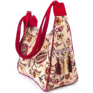 Cream Color Turkish Kilim Bag Tulip Patterned