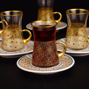 Colorfull Thin Waist Turkish Tea Set With Porcelain Saucers