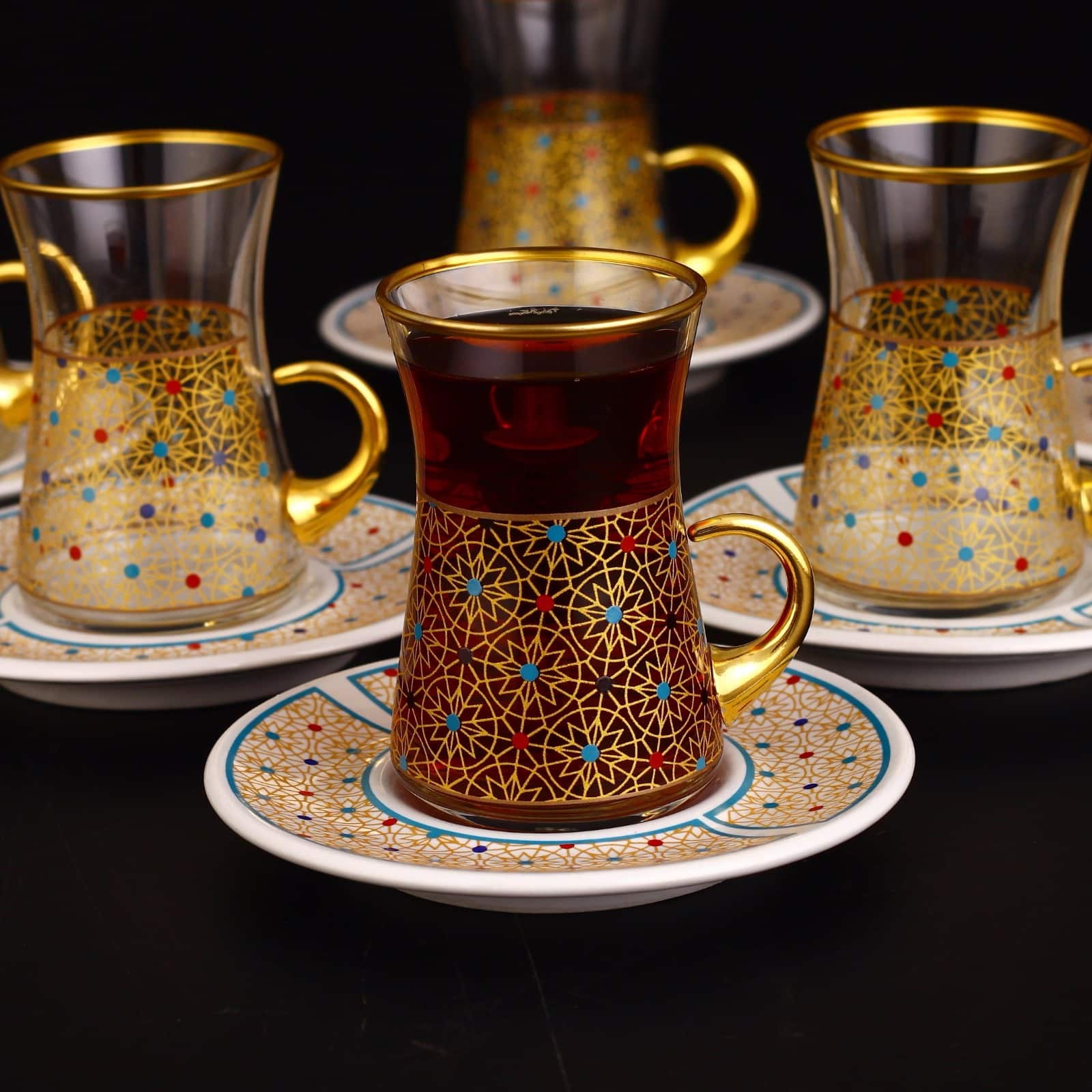 Colorfull Thin Waist Turkish Tea Set With Porcelain