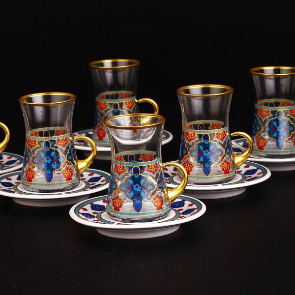 Imara Turkish Tea Set With Holder-Porcelain Saucers