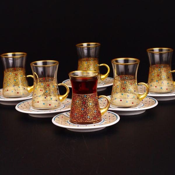 Colorfull Thin Waist Turkish Tea Set With Porcelain Saucers