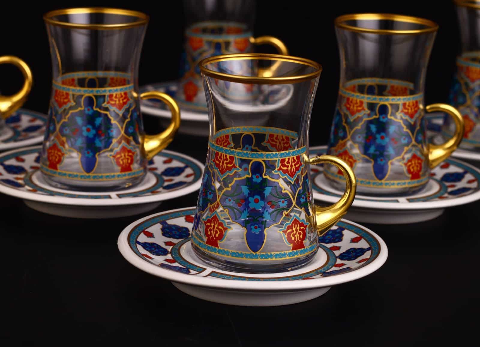 12 Pcs Turkish Tea Set With Holder Porcelain Saucers