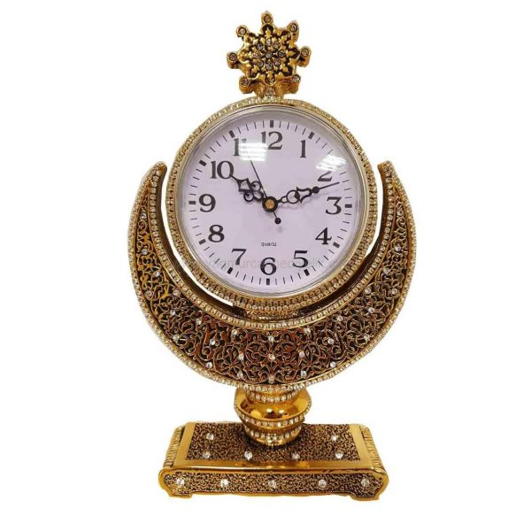 Gold Color Crsytal Coated Islamic Table Clock