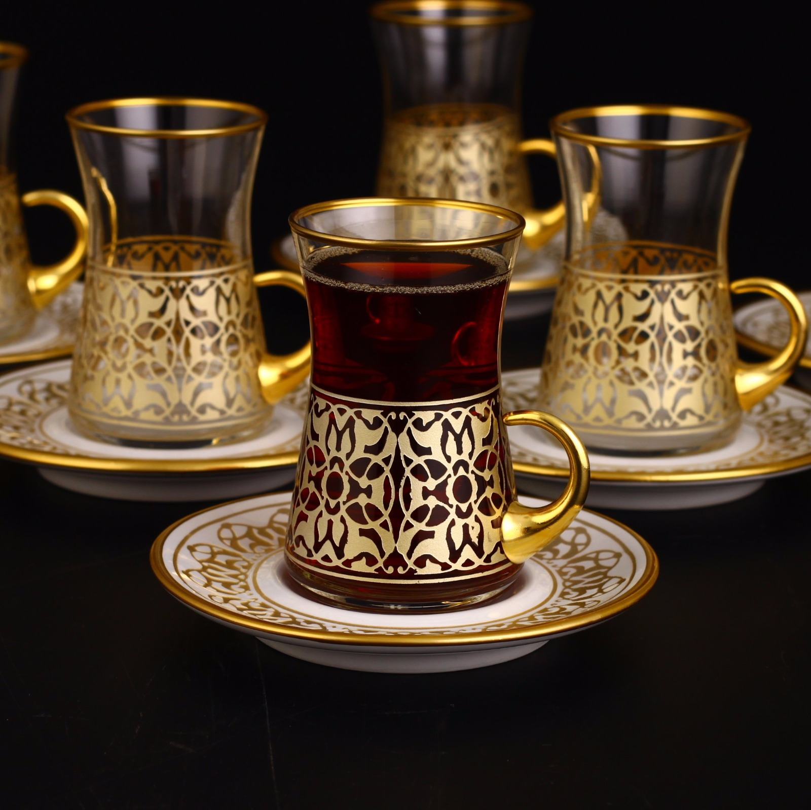 12 Pcs Turkish Tea Set With Holder Gold Color Fairturk Com