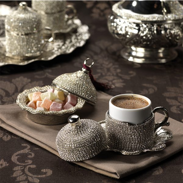 Crystal Stone Coated Unique Silver Color Coffee Cups Set