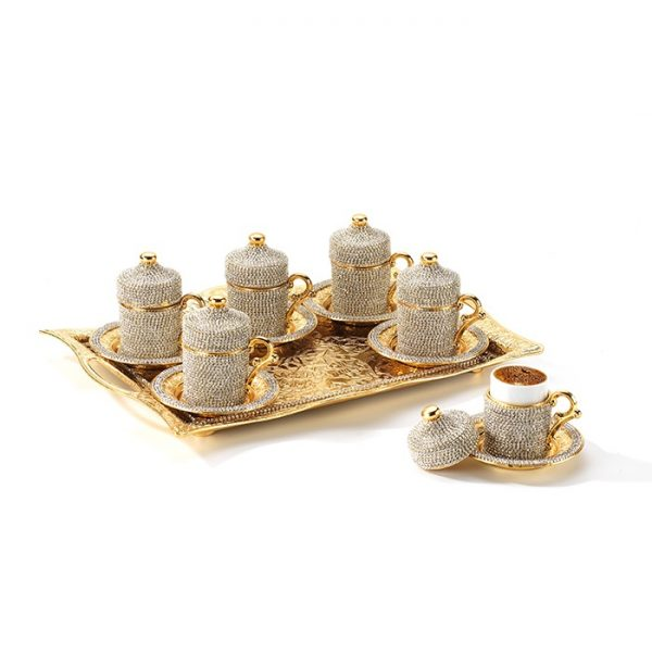 Crystal Stone Coated Unique Gold Color Coffee Cups Set