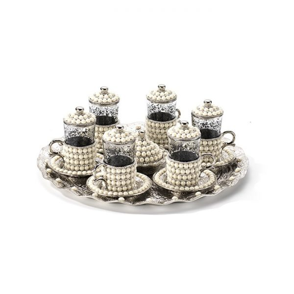 Silver Color Pearl Coated Handmade Tea Set With Tray