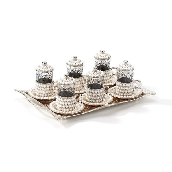 Pearl Coated Silver Turkish Tea Cups Set For Six Person