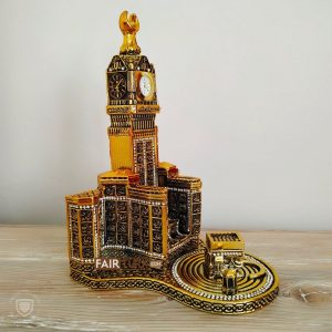 Gold Color Zamzam Tower And Kaaba Islamic Sculpture