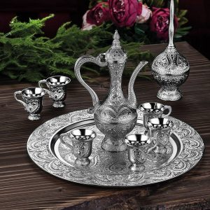 Latest Model Silver Color Moroccan Tea Cups Set