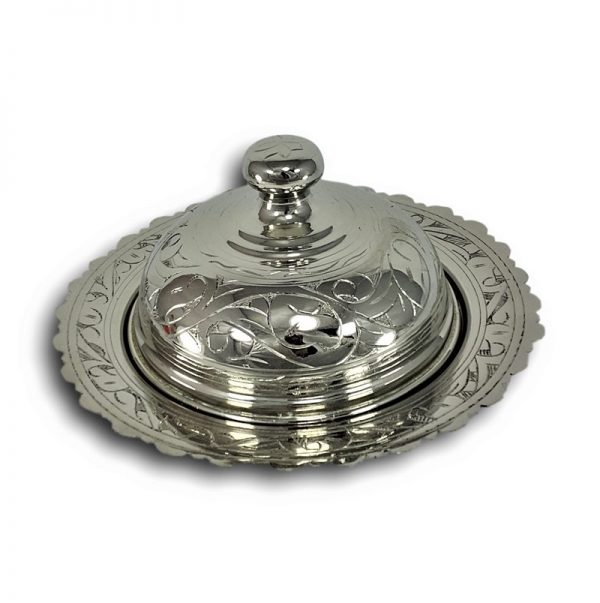 Large Silver Plated Copper Turkish Snack Bowl