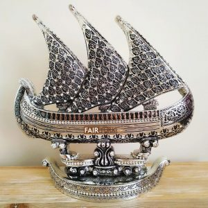 Silver Color Esma Ul Husna Ship Design Islamic Sculpture