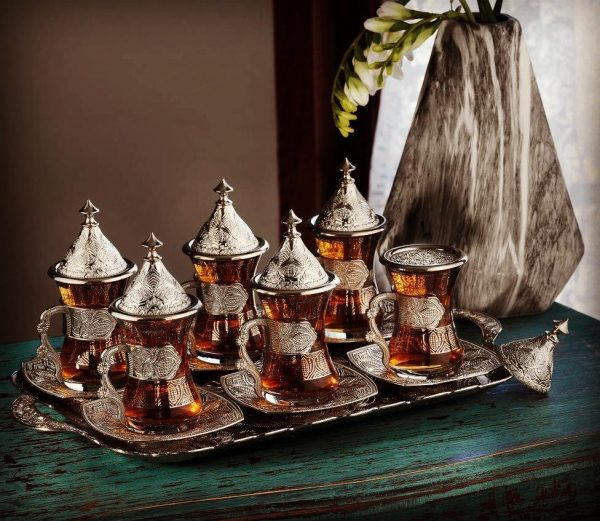 Silver Color Middle Eastern Tea Cups Set For Six People