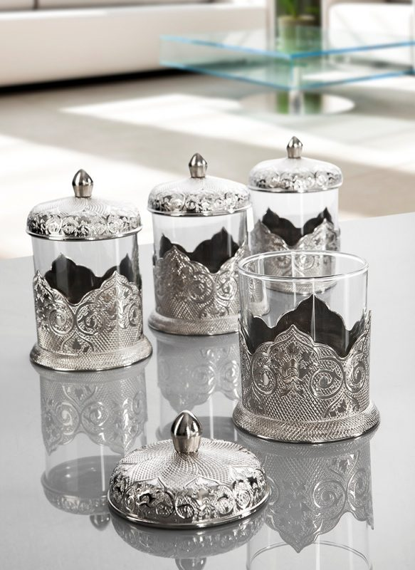 Silver Color Middle Eastern Spice Set For Four