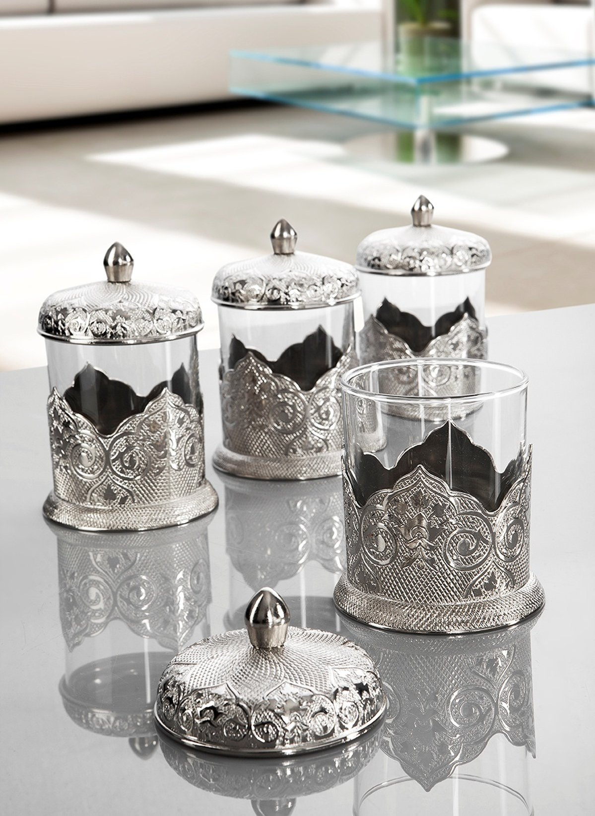 Silver Color Middle Eastern Spice Set For Four Fairturk
