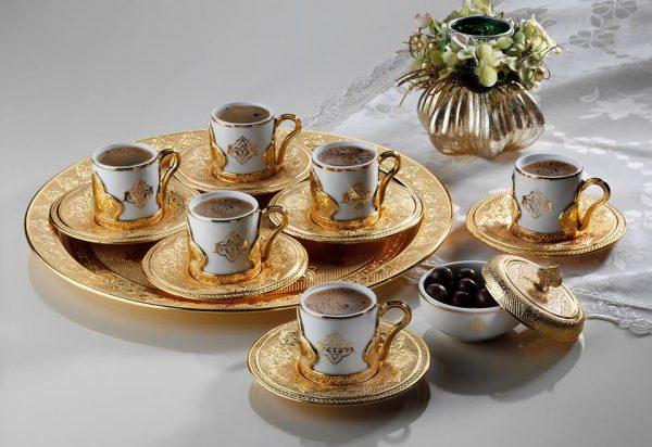 Luxury Gold Color Espresso Turkish Coffee Set