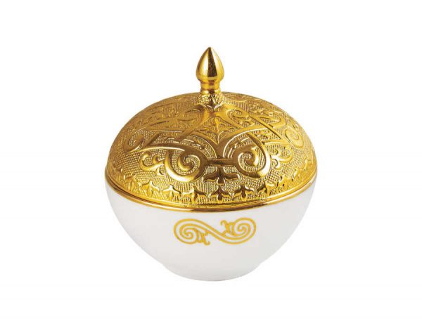 Gold Color Round Porcelain Sugar Bowl