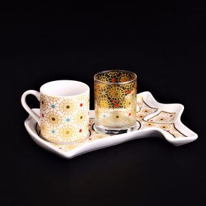 Ottoman Style Caftan Design Colorfull Coffee Set For One Person