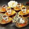 Gold Color Turkish Arabic Coffee Cups  Six Pieces