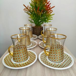 12 Pcs Ottoman Turkish Tea Set With Holder