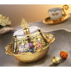 Gold Color Ottoman Style Delight Bowl With Glass Lid