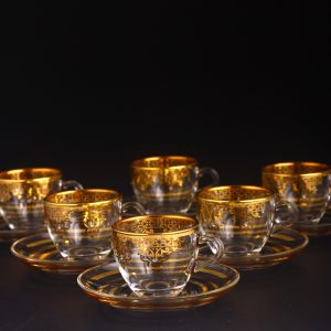 Gold Espresso Size Turkish Coffee Cups Set For Six Person