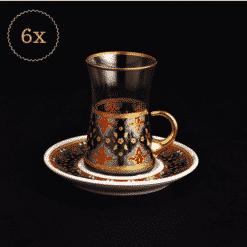 12 Pcs Sultan Blue Turkish Tea Set With Porcelain Saucers