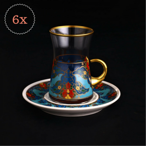12 Pcs Sultan Blue Turkish Tea Set With Porcelain Saucers