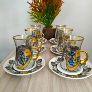 12 Pcs Vav Design Turkish Tea Set With Holder
