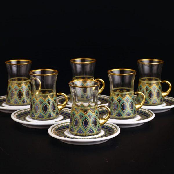 12 Pcs Turquoise Ethnic Design Turkish Tea Set With Holder