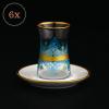 Ansar Blue Turkish Tea Set With Porcelain Saucers