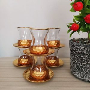 Luxury Gold Color Turkish Tea Set With Metal Saucers