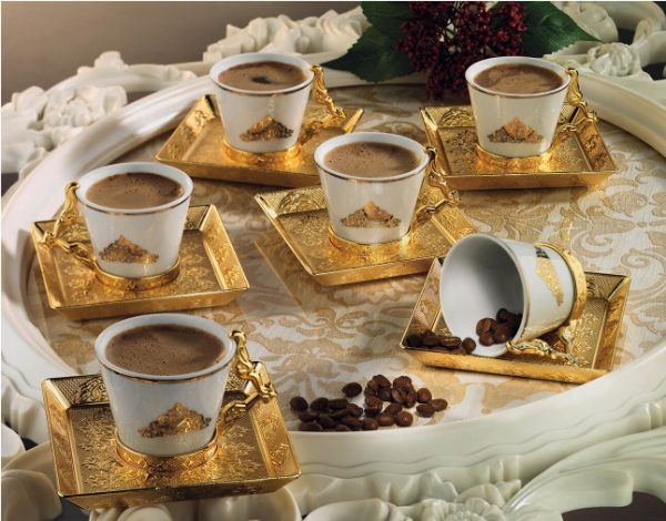 Gold Color Arabic Coffee Cups  Six Pieces