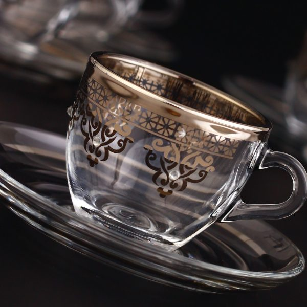 Silver Espresso Size Turkish Coffee Cups Set For Six Person