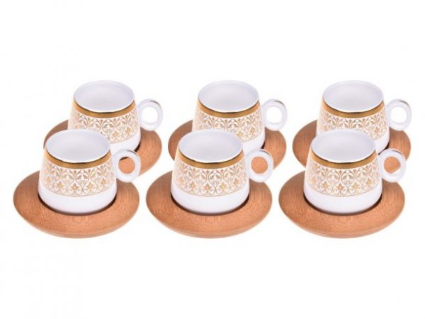 Bamboo Turkish-Espresso Cups Set For Six Person With Tray