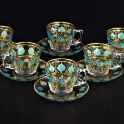 Turquoise Large Coffee Mugs-Tea Glasses For Six Person