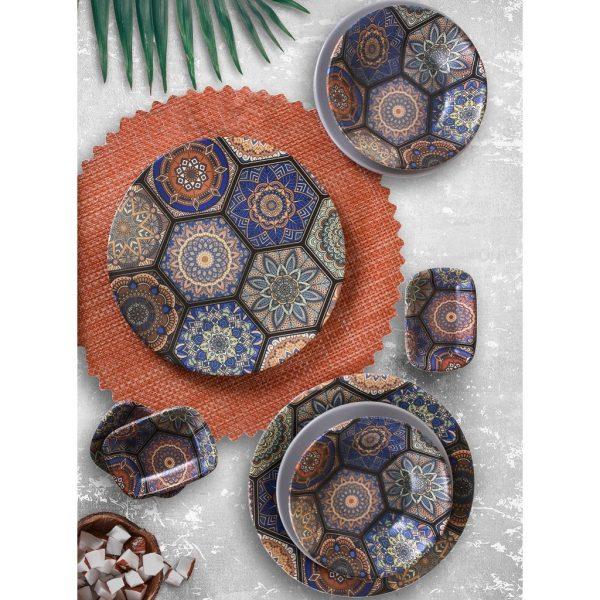 24 Pcs Stoneware Ethnic Turkish Dinner Set For 6 Person