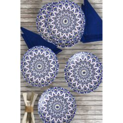 6 Pcs Stoneware Evil Eye Turkish Dinner Set For 6 Person