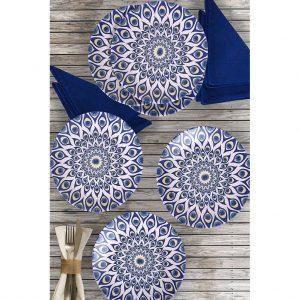 6 Pcs Stoneware Evil Eye Turkish Dinner Set For 6 Person
