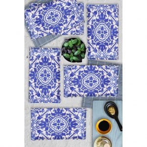 6 Pcs Kobalt Blue Turkish Dinner Set For 6 Person