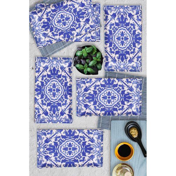 6 Pcs Kobalt Blue Turkish Dinner Set For 6 Person