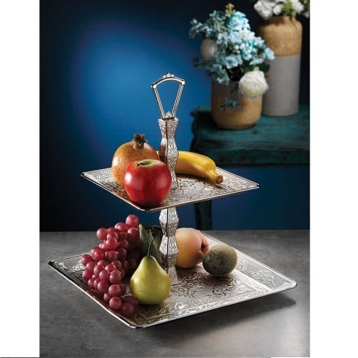 Two Tier Square Silver Plated  Fruit - Cookie Serving Tray