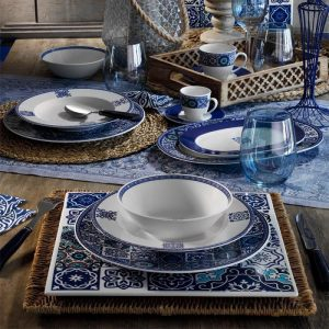 24 Pcs Ethnic Tile Design Porcelain Turkish Dinner Set For 6 Person