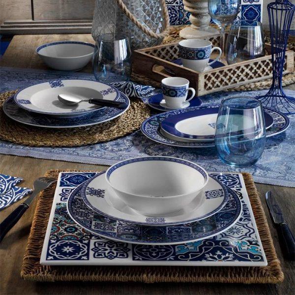24 Pcs Ethnic Tile Design Porcelain Turkish Dinner Set For 6 Person