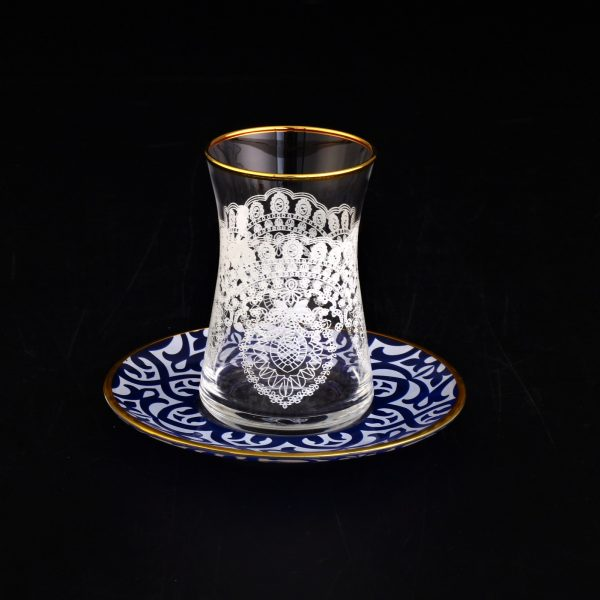 Ikra Lace Design Turkish Tea Set With Blue Saucers
