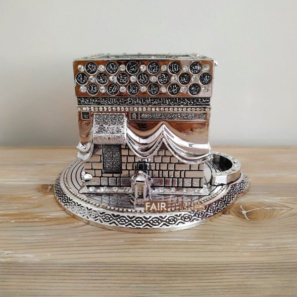Medium Size 3D Kaaba Design Islamic Gift In Silver Color