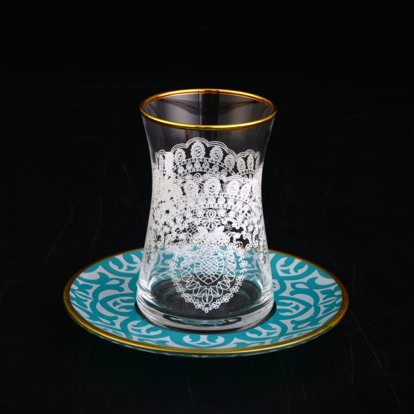 Ikra Lace Design Turkish Tea Set With Turquoise Saucers