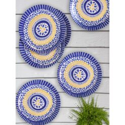 6 Pcs Stoneware Evil Eye Design Dinner Service Set