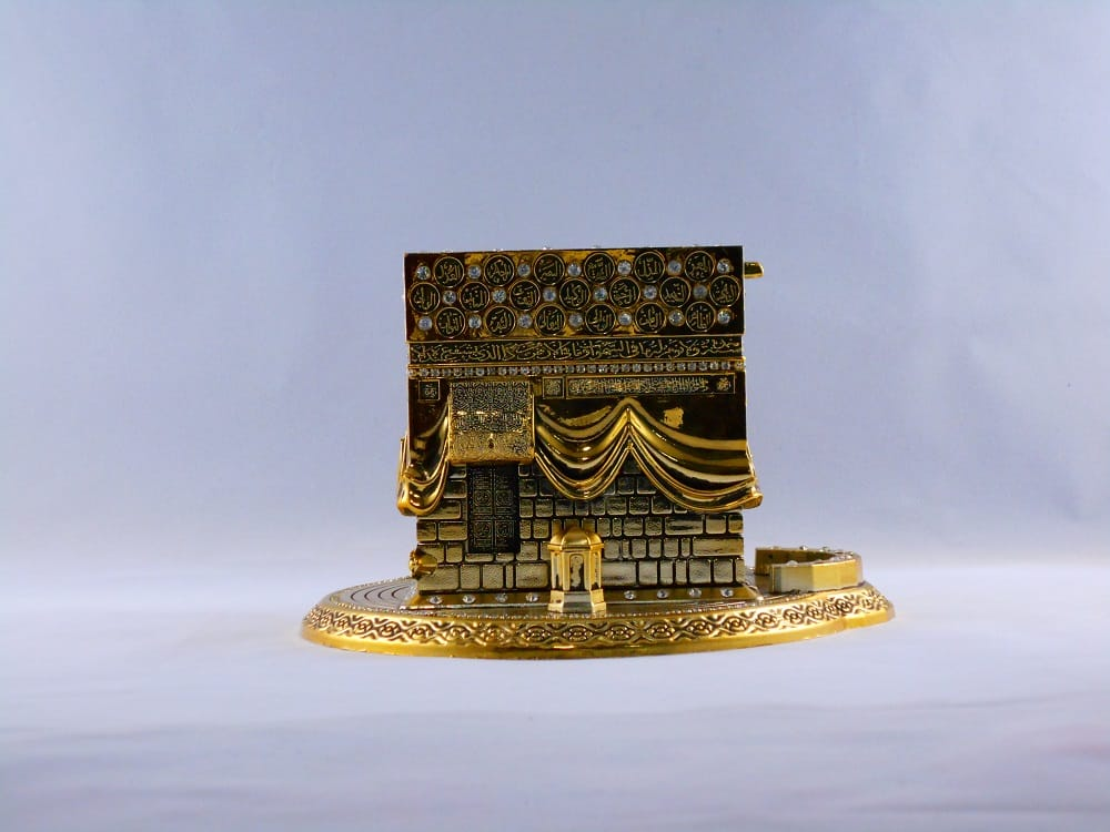 Medium Size 3D Kaaba Design Islamic Gift In Gold Color