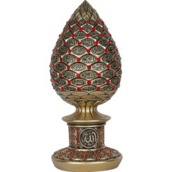 Gold Color Pine Cone Design Islamic Gift With Red Stones